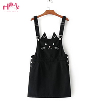 Korea Style Women Fashion Denim Suspender Dress Cute Cat Ears Kawaii Cat Pattern Embroidery Dress Casual Sleeveless A line Dress