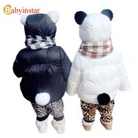 Polka Dots Patterns Baby Girl Warm Outwear Rose Cartoon Mouse Printed Bow Girls Winter Coat Baby