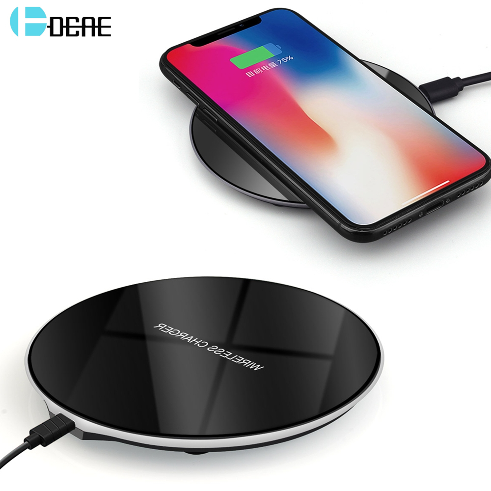 dcae wireless charger for samsung galaxy s8 s9 plus note 9 8 qi wireless charging for iphone xs. Black Bedroom Furniture Sets. Home Design Ideas