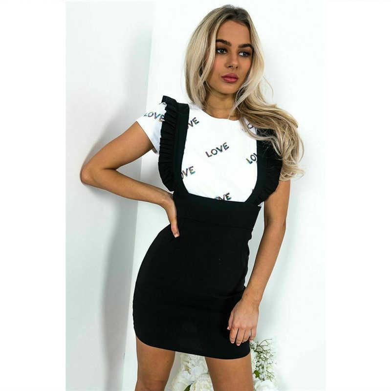 נשים של מיני חצאית בציר רשמי ליידי סקסי עיפרון גבוהה מותן חצאית קיץ אופנה לפרוע רצועה שחור משובץ מסיבת בגדים חדש