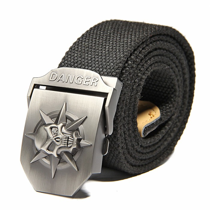 Fashion men's Canvas belt skull Metal tactics woven belt canvas belt Casual pants Cool wild gift for men belts Skull large size 14