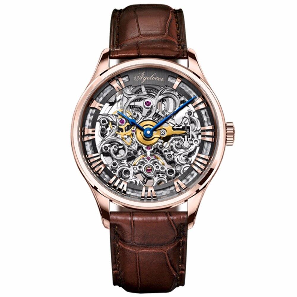 Agelocer Роскошные Часы с костями розовое золото кожаный ремешок механические часы римская цифра Мужские Наручные часы 5401