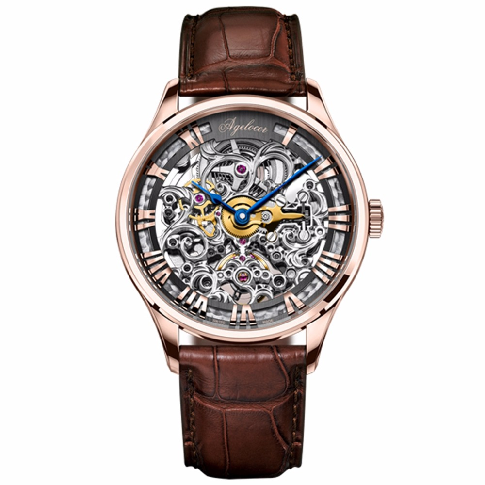 Agelocer Luxury Skeleton Watches Rose Gold Genuine Leather Strap Mechanical Watches Roman Numeral Mens Wristwatches 5401