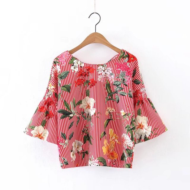2eead5c1ca Tie Neck Vertical Striped Floral Print Top Red Boat Neck V Back 3/4 Sleeve  Shirt Summer Women Blouse