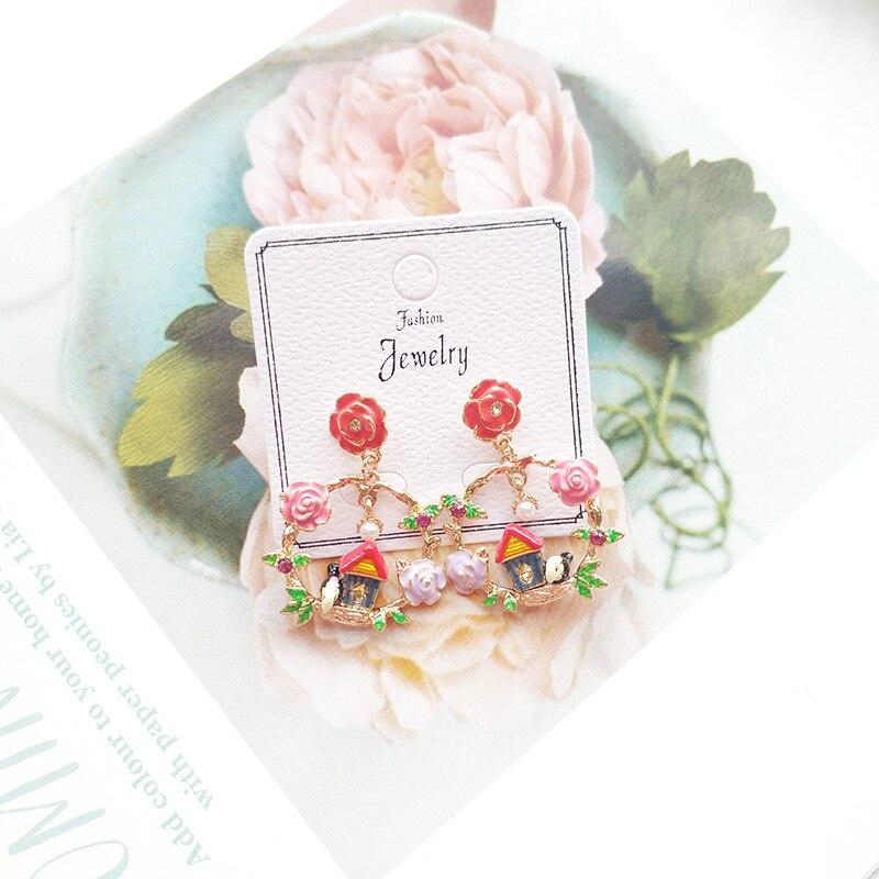 Women Vintage Flower Bird Sweet Princess Drop Bangle Earrings Korea Handmade Fashion Jewelry Holiday JQD5 in Drop Earrings from Jewelry Accessories