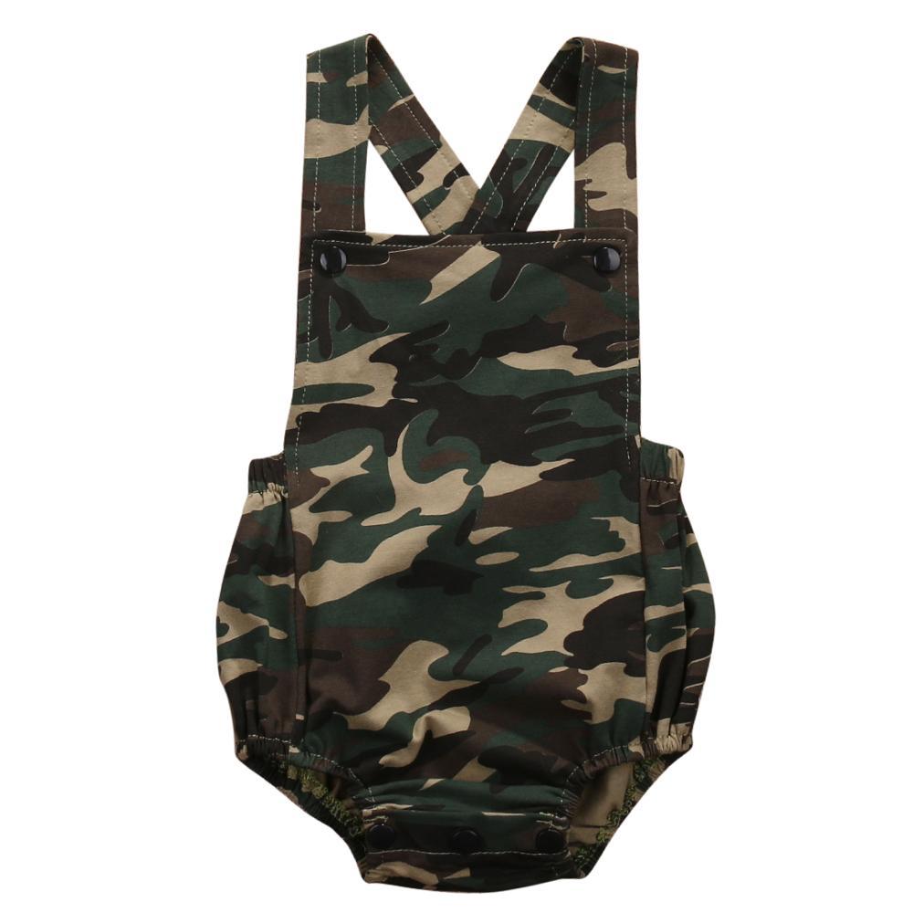 Combishort pour enfants de 0 à 18 mois, vêtements pour bébés filles et garçons, barboteuse verte de l'armée, sans manches
