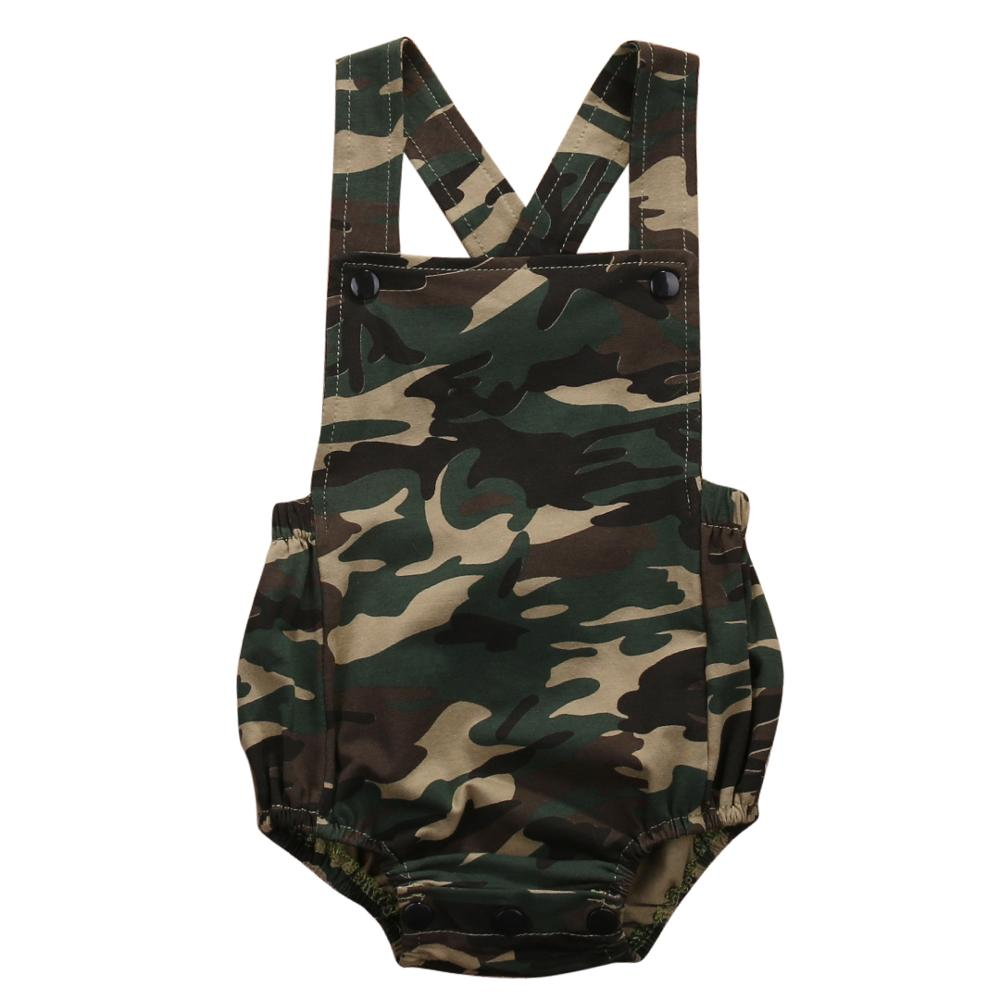 0-18 m Newborn Kids Baby Girl Boys Kids Clothing Army Green   Romper   Sleeveless arrival Playsuit Clothes s Outfits