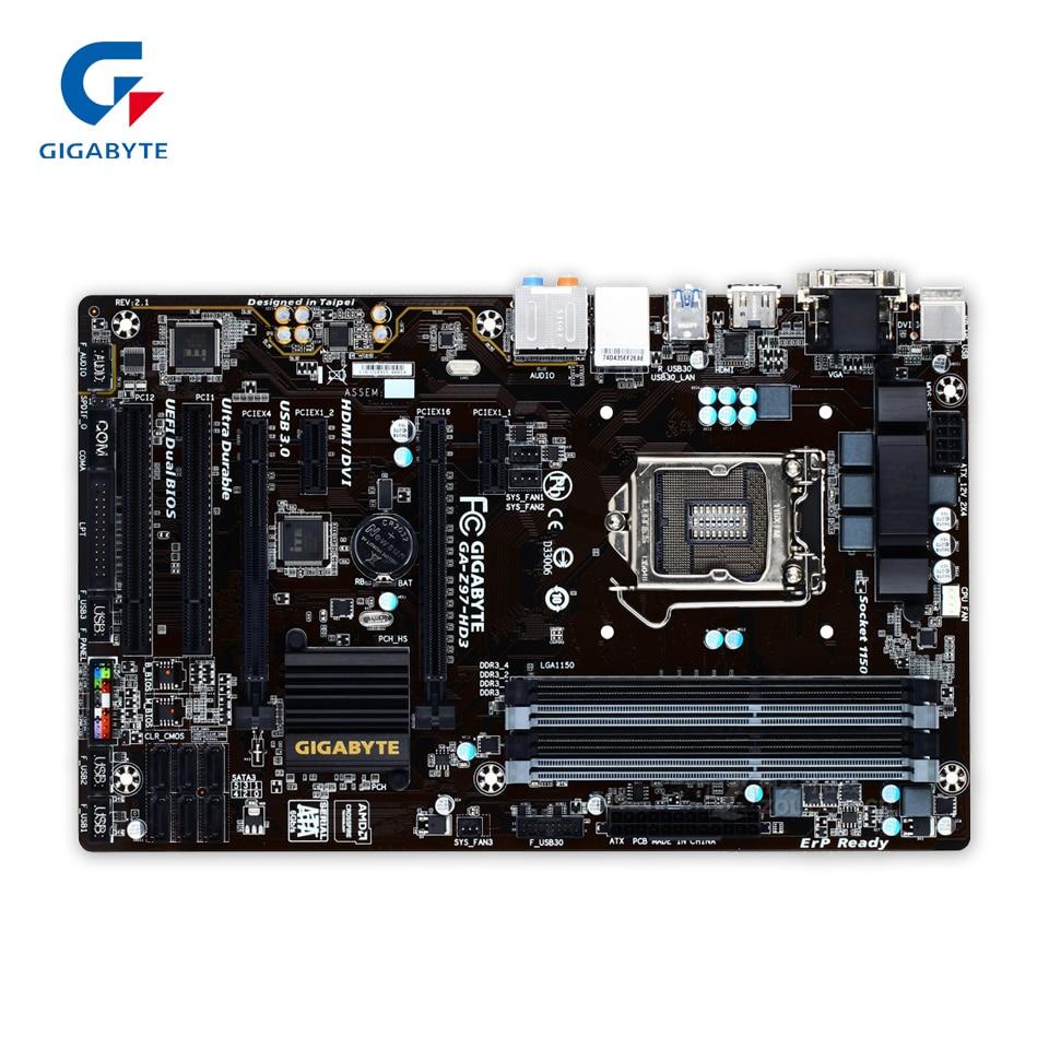 Gigabyte GA-Z97-HD3 Original Used Desktop Motherboard Z97-HD3 Z97 LGA 1150 i3 i5 i7 DDR3 32G SATA3 ATX gigabyte ga p67a ud3r b3 original desktop motherboard ddr3 lga1155 4 channels 32gb p67a ud3r b3 p67 motherboard free shipping