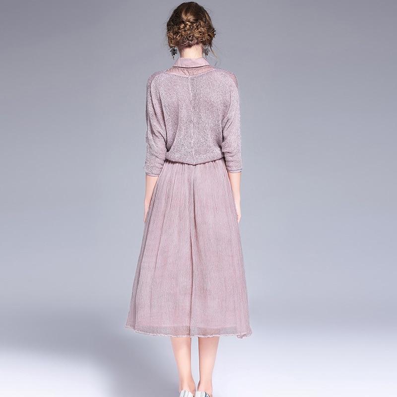 Kadın Giyim'ten Elbiseler'de Yüksek Kalite 2017 Yeni Kadın Ilkbahar Yaz Ipek Iki Parçalı Elbise Kadın Zarif Kolsuz Katı Kısa Ince Uzun Elbiseler'da  Grup 2