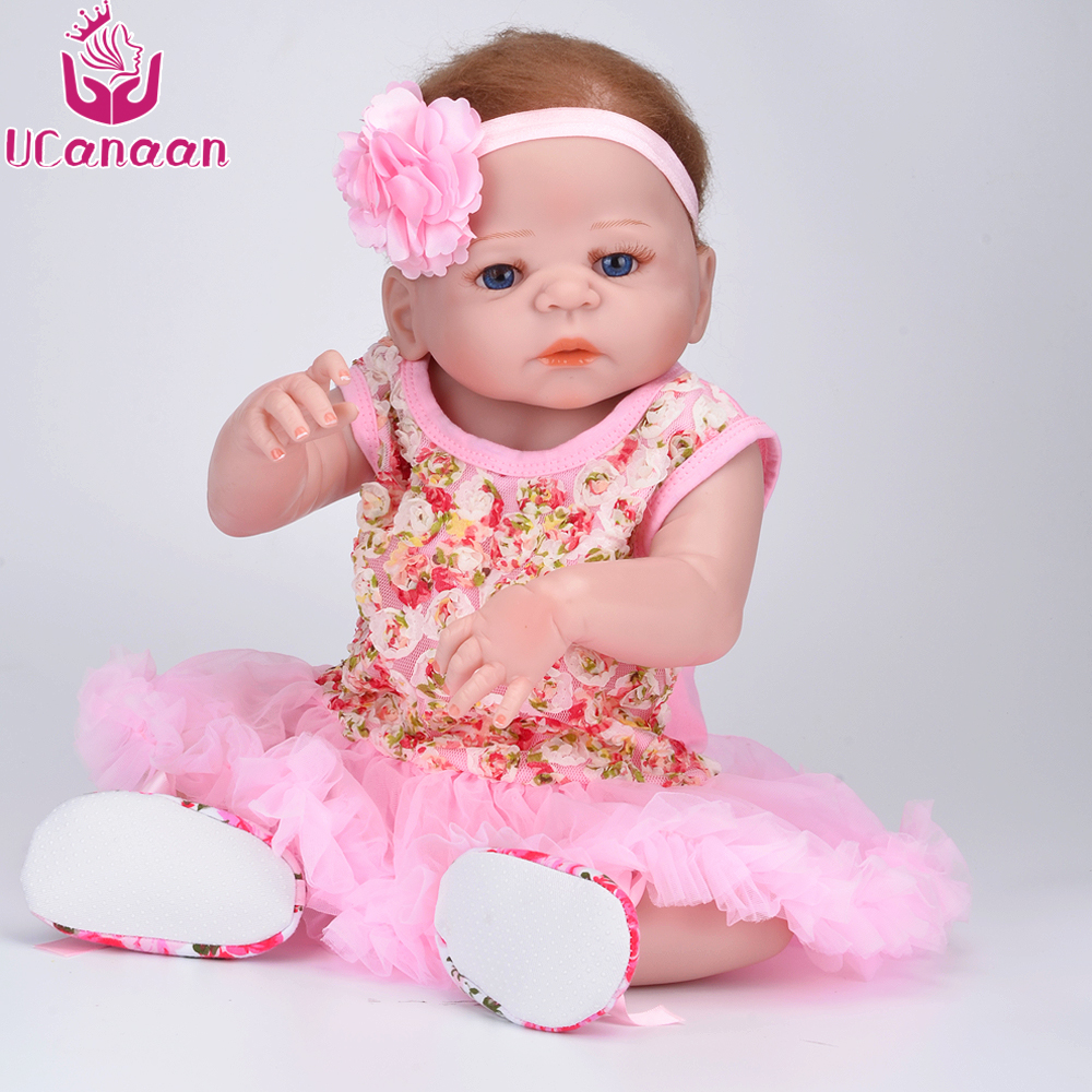 UCanaan 55CM Blue Eyes Vinyl Silicone Dolls Reborn Alive Baby Born Doll For Girls Toys Boneca Reborn Silicone Completa Juguetes ucanaan 1 3 bjd girl dolls 19 ball jointed doll with outfit dress wig eyes makeup sd dolls for girls collection kids toys boneca