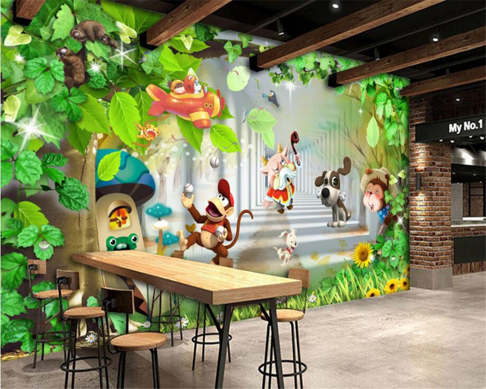 Wandtapete Kinderzimmer Us 9 45 37 Off Beibehang Nach Foto Tapete Kinderzimmer Cartoon Tiere Affe Tapete Malerei Cartoon Kinder Zimmer Hintergrund Tapete 3d In Beibehang