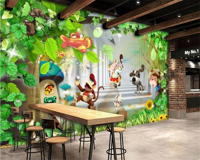 Beibehang Custom Photo Wallpaper Kids Room Cartoon Animals Monkey Painting Background