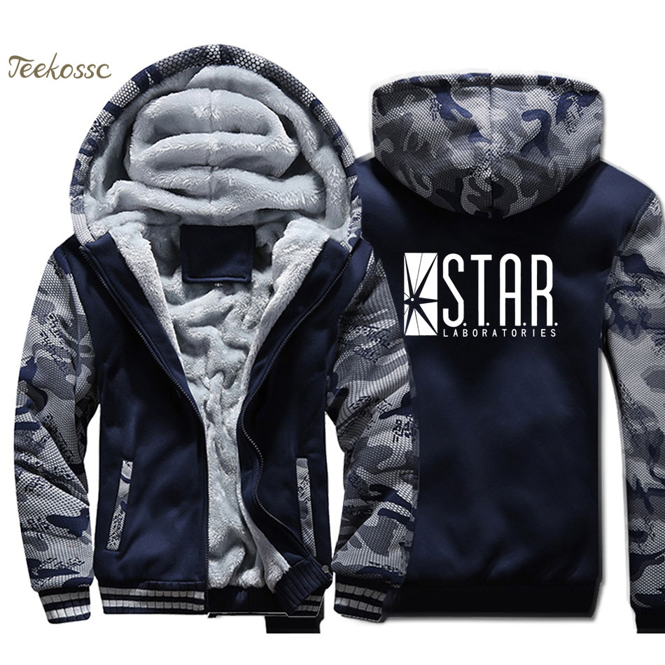STAR S.T.A.R.labs Jumper The Flash Gotham City Comic Books Hoodie Men Superman Series Hooded Sweatshirt Coat Thick Fleece Jacket