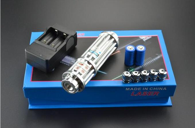 Blue Laser Pointer 500000m 450nm High Power Multi pattern Powerful Burning Lazer Pointer focus burn paper lit cigarette+5 caps