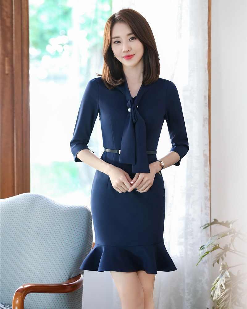 d04b5549c60 Формальные модные женские туфли работы платья для женщин Половина рукава  дамы вечернее платье темно синие офисная