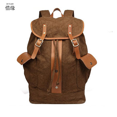 New Hot Large capacity man travel backpacks bag Solid zipper backpack men SCHOOL student bags Casual canvas bucket shoulder bag