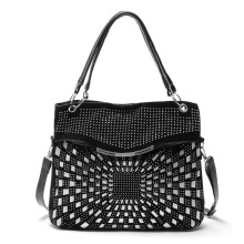 New PU Leather Women Crossbody Bags Fashion Rivet Women Shoulder Bag Elegant Big Messenger Bag Brand Design Lady Handbag Black nucelle brand new design fashion cosmic rivets lock robot pu leather women lady shoulder crossbody flap bags gift for girl