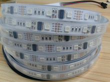 5m DC12V WS2801 pixel strip,48leds/m with 16pcs(16pixels) WS2801 IC 5050 smd rgb led chip;waterproof in silicon tube
