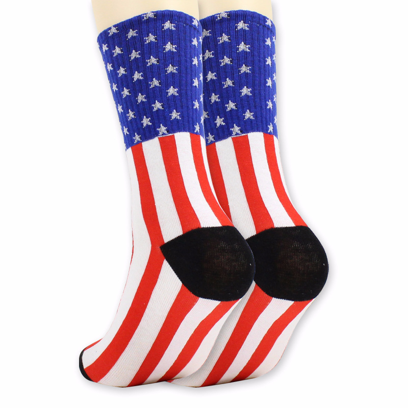 2018NEW American flag socks men and women casual tube stockings trendy men and women fashion hip-hop street dance socks