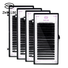 zwellbe 16Rows/Case 7~15mm Mix In One Tray Natural Synthetic Mink Individual Eyelash Extension Makeup Cilia Professional Use
