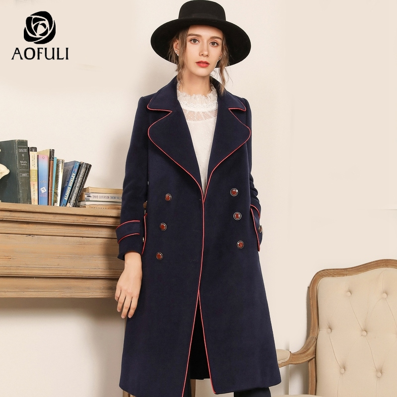 AOFULI British Style Blue Long Overcoat Winter Thick Woolen Coat Pocket Big Size Double Breasted Long