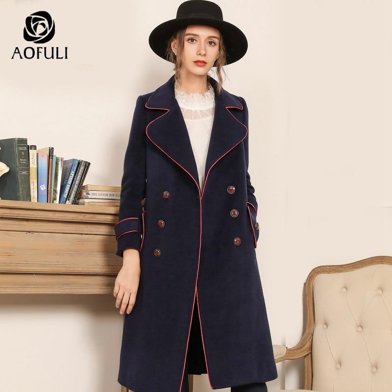 AOFULI البريطانية نمط الأزرق طويل معطف الشتاء سميكة الصوف معطف جيب حجم كبير مزدوجة الصدر طويل بلايز M ~ XXXL 4XL 5XL A3835-في صوف مختلط من ملابس نسائية على  مجموعة 1