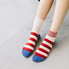 1 Pairs/Lot New Autumn And Winter Candy Color Ladies Tube Socks Pinstripes Cotton Cuffs Striped High 5 Colors