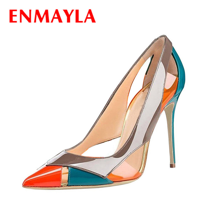 ENMAYLA 2017 New Women Summer Mixed Colors High Heels Pumps Shoes Woman Pointed Toe Stiletto Heels Cut-outs Party Ladies Shoes beango 2018 new fashion women high heels pointed toe striped pumps mixed colors rivet stiletto party wedding shoes woman