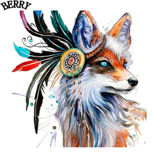 Colorful Fox Wolf Diy 5d Diamond Embroidery Animal Picture Diamond Painting Cross Stitch Needlework Full Square Drill Decor