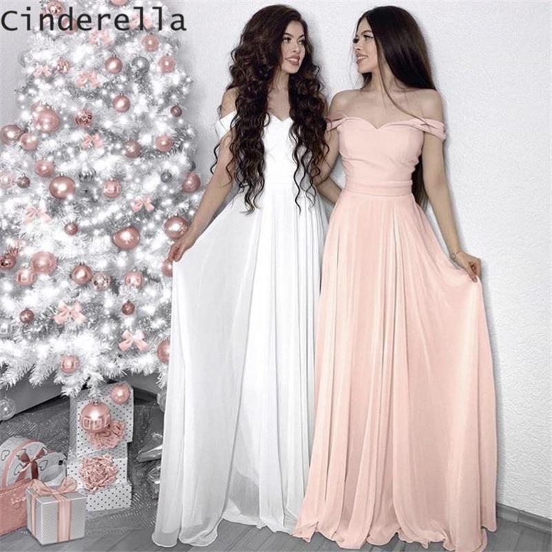 Cinderella Sweetheart Off The Shoulder A-Line Floor Length Chiffon Bridesmaid Dresses Chiffon Wedding Party Bridesmaid Dresses
