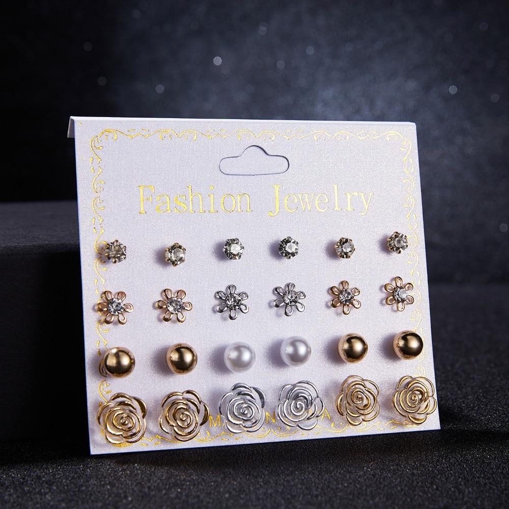 12 Pairs/set Stud Earrings Set With Card Transparent Zircon Balls Love Flowers Earrings Women Imulated Pearl Earrings Jewelry 12