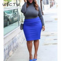 WBCTW 8XL 9XL 10XL Large Size Woman Skirt Elastic Waist Solid Casual Streetwear Autumn Spring Fashion Sexy Pencil Cotton Skirts