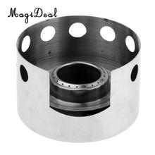 Outdoor Mini Spirit Burner Alcohol Stove Furnace Portable Stainless Steel with Stand Camping Hiking