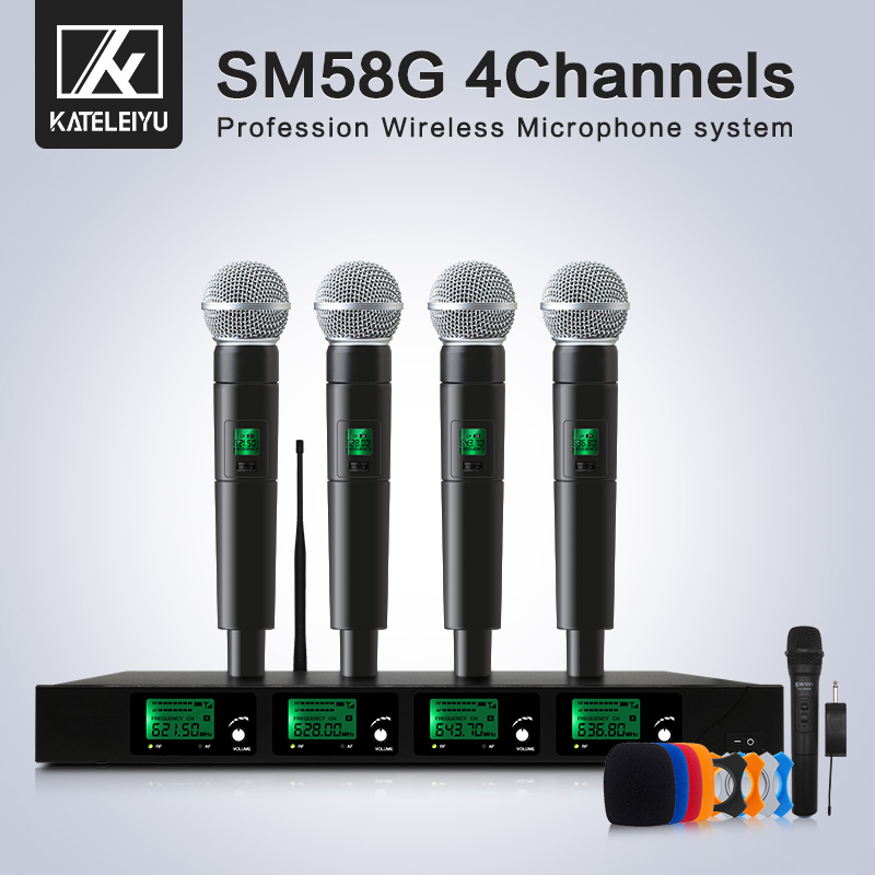 top quality 4 channel wireless microphone system uhf karaoke system cordless four handheld. Black Bedroom Furniture Sets. Home Design Ideas