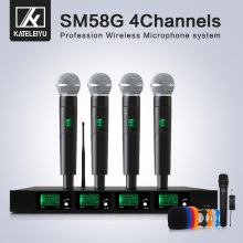 Top Quality 4 Channel Wireless Microphone System UHF Karaoke System Cordless Four Handheld Microphone Kalaoke Stage Microphone high end uhf 8x50 channel goose neck desk wireless conference microphones system for meeting room