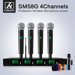 Top Quality 4 Channel Wireless Microphone System UHF Karaoke System Cordless Four Handheld Microphone Kalaoke Stage Microphone