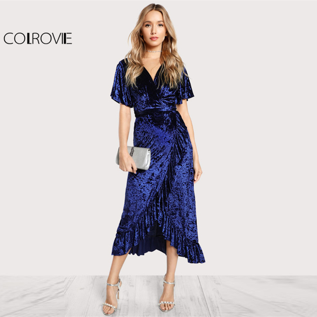 COLROVIE Surplice Wrap Crushed Velvet Dress Women Sexy Frill Maxi Party Dress Fall 2017 Fashion Navy Asymmetrical Belted Dress