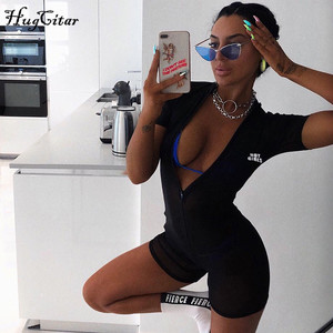 Hugcitar reflective leeters print short sleeve zipper mesh see-through sexy playsuit 2019 summer women fashion club streetwear f
