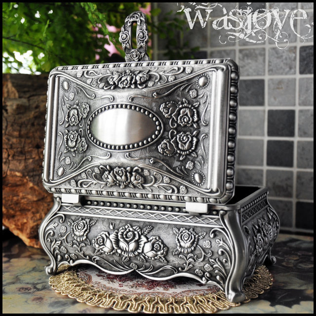 Big Size High Quality Vintage Flower Carved Zinc alloy Metal Trinket Box Jewelry Box Necklace Pendant