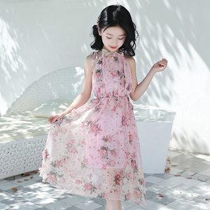 Image 3 - Summer Girls Dress Strap Shoulder Girl Beach Dresses Bohemian Kids Dresses Floral Teenage Girls Summer Clothes 6 8 10 12 14 Year