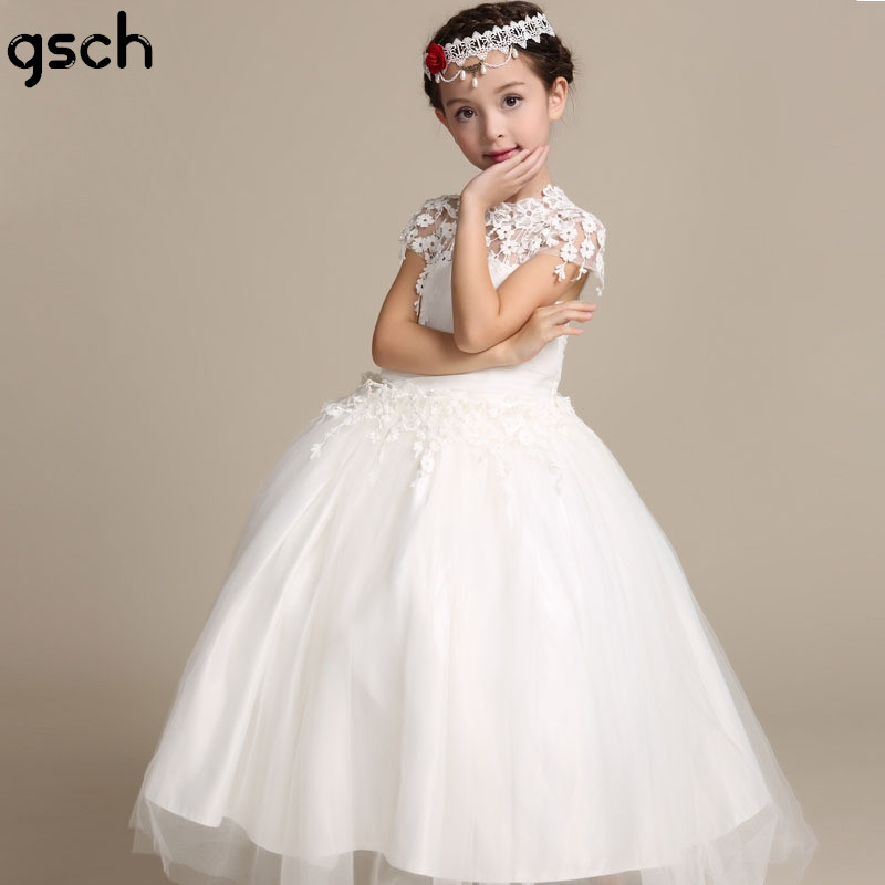 Flower Girls Dress Lace Kids Wedding Dresses Ankle length White Girls Princess Party Prom Gown Children`s Clothing Vestidos robe