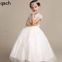 Ragazze di fiore Vestito di Pizzo Per Bambini Abiti Da Sposa caviglia Bianco Principessa Delle Ragazze Del Partito di Promenade Abbigliamento Abiti robe