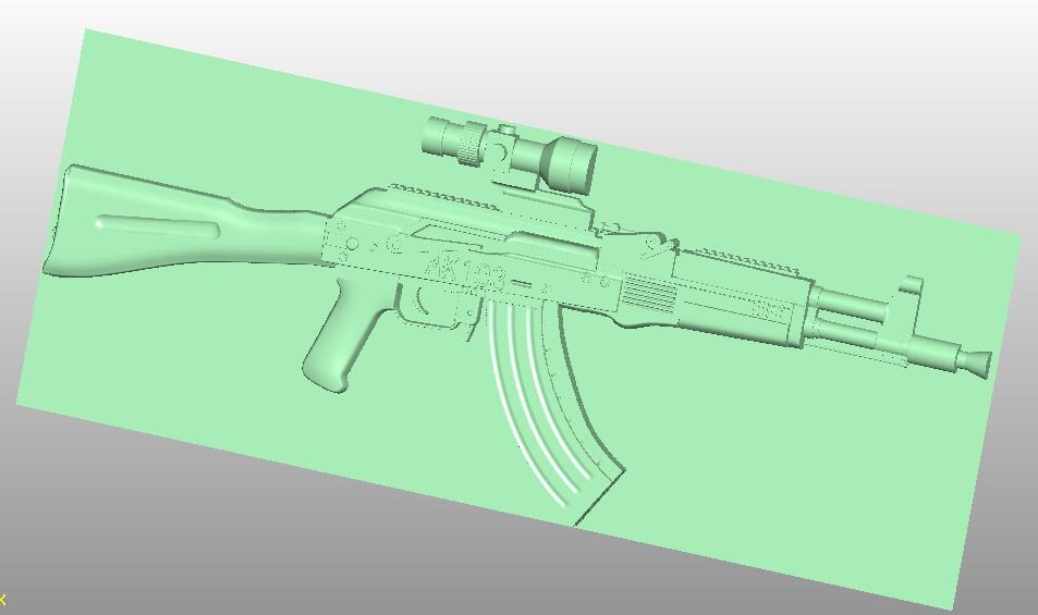 Gun 3D File In STL Format Relief For Cnc Router Carving Artcam