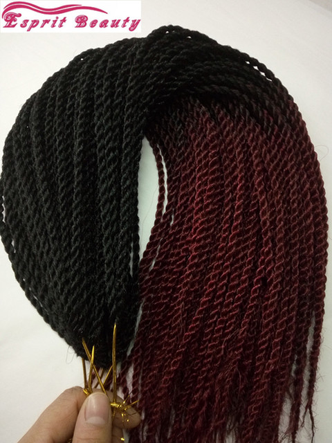 New Dip Dye Burgundy Ombre Micro Senegalese Twist Crochet Braiding Hair Extensions 20inch 30roots Kanekalon Havana