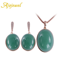 Ajojewel Newly Resin Stone Jewelry Set Beautiful Green Necklace And Earrings Round Shape Match With Fine Gift Box