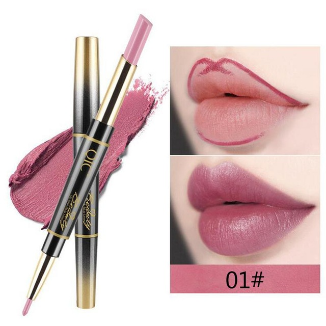 QIC Matte Lipstick Wateproof Double Ended Long Lasting Lipsticks Brand Lip Makeup Cosmetics Nude Dark Red Lips Liner Pencil 1