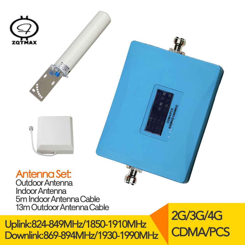 2G / 3G / 4G Repeater Signal Amplifier 850 1900 Display Dual Band CDMA And 3G PCS 1900 Mobile Phone Repeater Antenna Full Sets