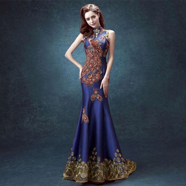 Blau Phoenix Jewel stickerei backless Cheongsam kleider Chinesischen ...