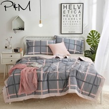 цена на 2019 Grey Plaids Pink Lines Quilt Cotton air-condition Quilted Thin Comforter Summer Throws Blanket Twin Full Queen Size
