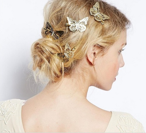 1 pair of Women Ladies Girls Golden Butterfly Hair Clips Headband Accessories for Hair Headpiece Barrettes retro vintage women ladies girls hair clips crystal butterfly bowknot hairpins hair accessories
